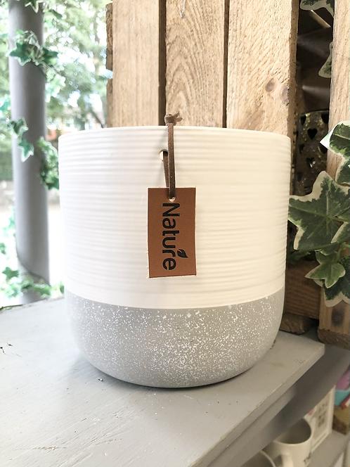 White and Grey Ceramic Indoor Planter