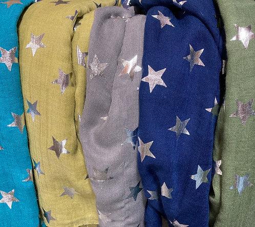Silver foil stars scarf