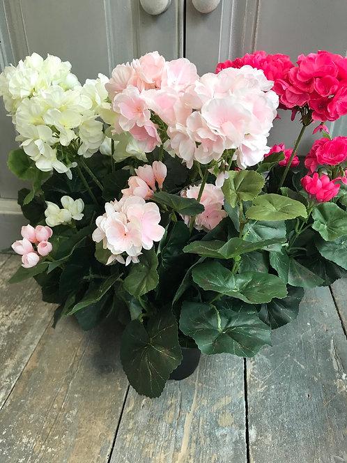 Hydrangea in pot silk flowers 32cm