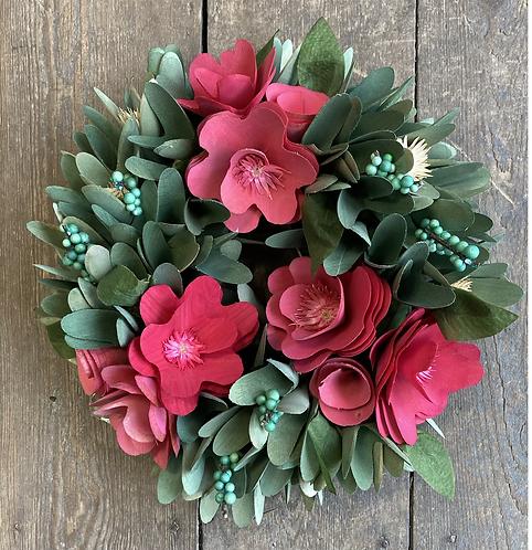 Pink floral ball wreath 26cm