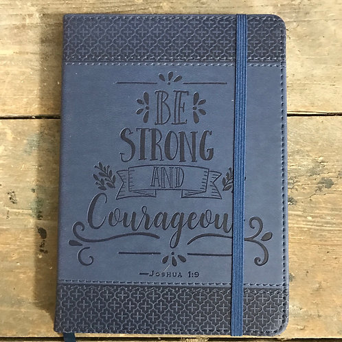Blue faux leather lined notebook 18x13cm