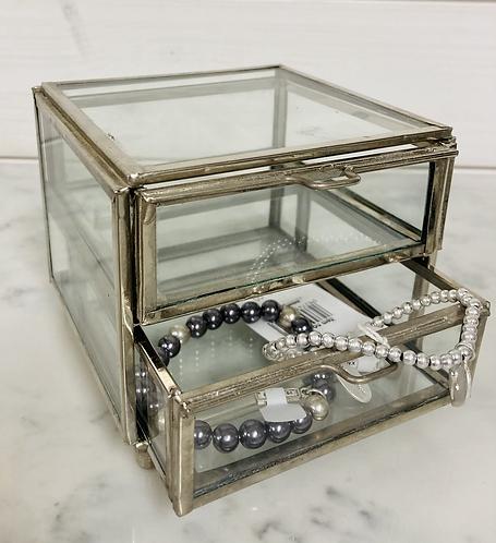 Silver Brass 2 drawer box, Trinket dish
