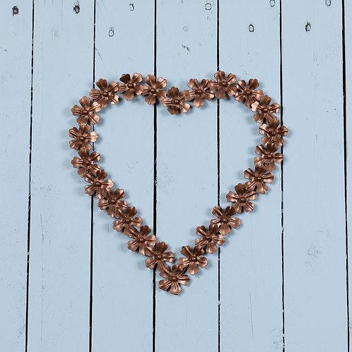 Hanging Metal Flower Heart in Rose gold 25cm