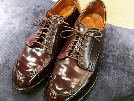 AldenのVチップコードバンの靴磨き&クリーニング