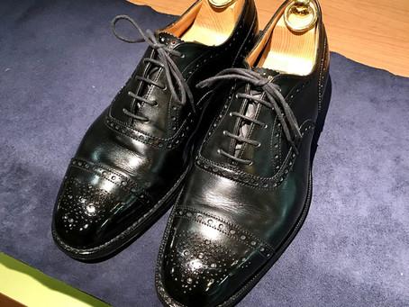 Church'sの雨染み銀浮きクリーニング&鏡面靴磨き
