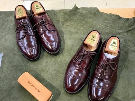 Alden の靴磨き修理