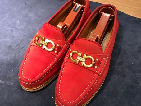 FERRAGAMOのスエード靴クリーニングとオールソール修理