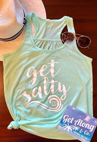 """Get Salty"" mint racerback tank"