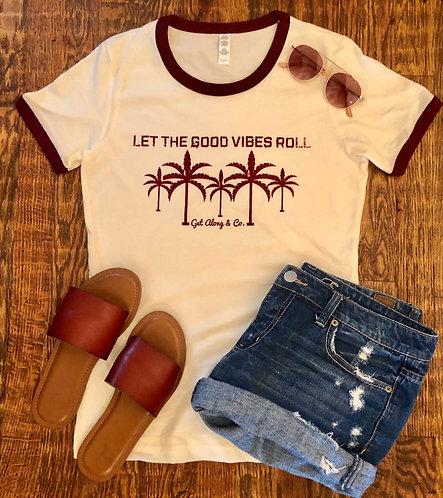 Good Vibes - Maroon/Natural Ladies' T-Shirt