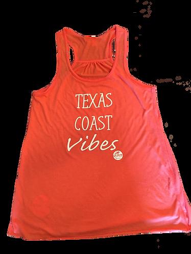 "Coral ""Texas Coast Vibes"" racerback tank"