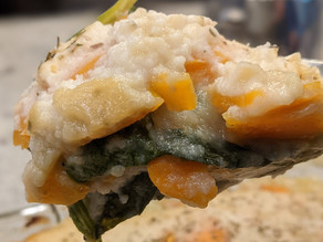 Scalloped Sweet Potatoes & Spinach in Cauliflower Sauce
