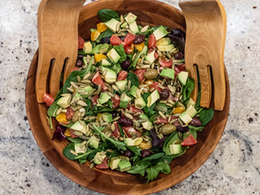 Mixed Greens and Citrus Salad with Avocado, Olives and Pumpkin Seeds