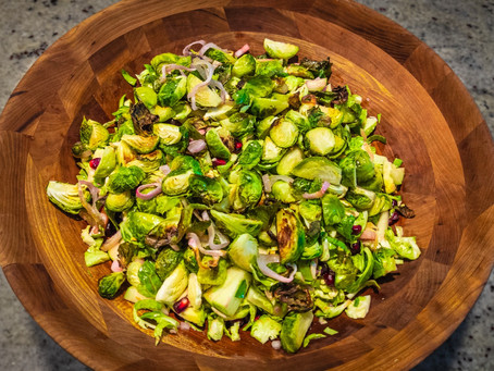 Brussels Sprouts Salad with Apples, Almonds & Pomegranate