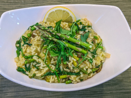 Asparagus, Mushroom, Pea and Arugula Spring Risotto
