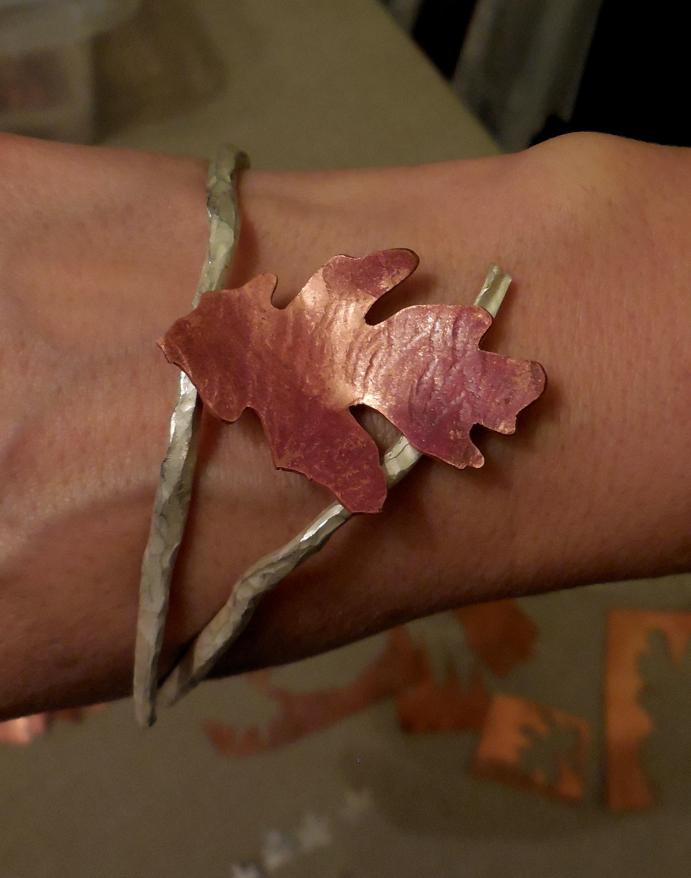 copperflame oak leaf bracelet