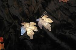 Large silver maple leaf earrings