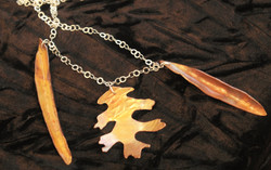 Mixed leaf charm necklace