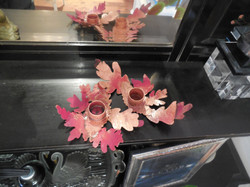 Copperflame leaf candleholders 2