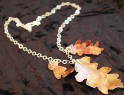 3 copper oak leaf charm necklace
