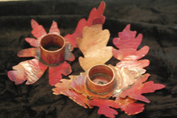 Copperflame leaf candleholders