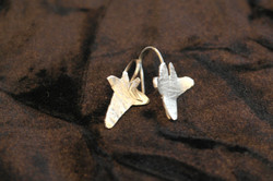 tiny silver ivy earrings