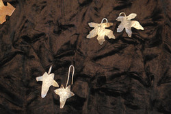 Small silver ivy and maple earrings