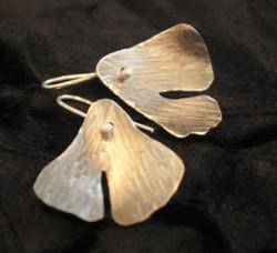 silver gingko leaf earrings
