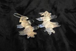 large silver oak earrings shape 2