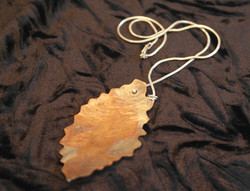 copperflame jagged leaf pendant