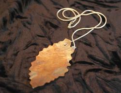 Single beech pendant on silver