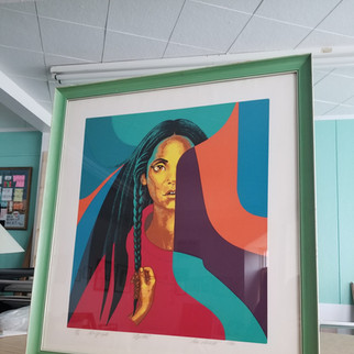 Re-claimed vintage frame, re-built to fit this phenomenal print.