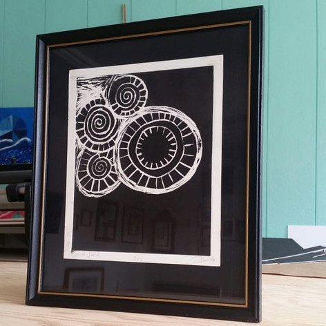 This piece is framed with a re-purposed antique frame and is floated on a unique black mat which has details this photograph does not pick up on. This was a special job because the frame Bev chose matched a frame the client had hanging in his living room which had been a family heirloom passed down.