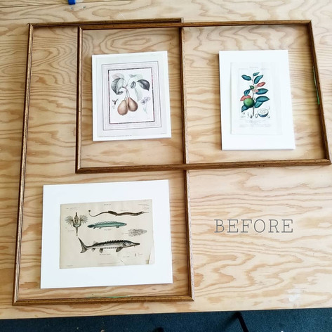 Two re-purposed frames to fit a collection of three pieces (before)