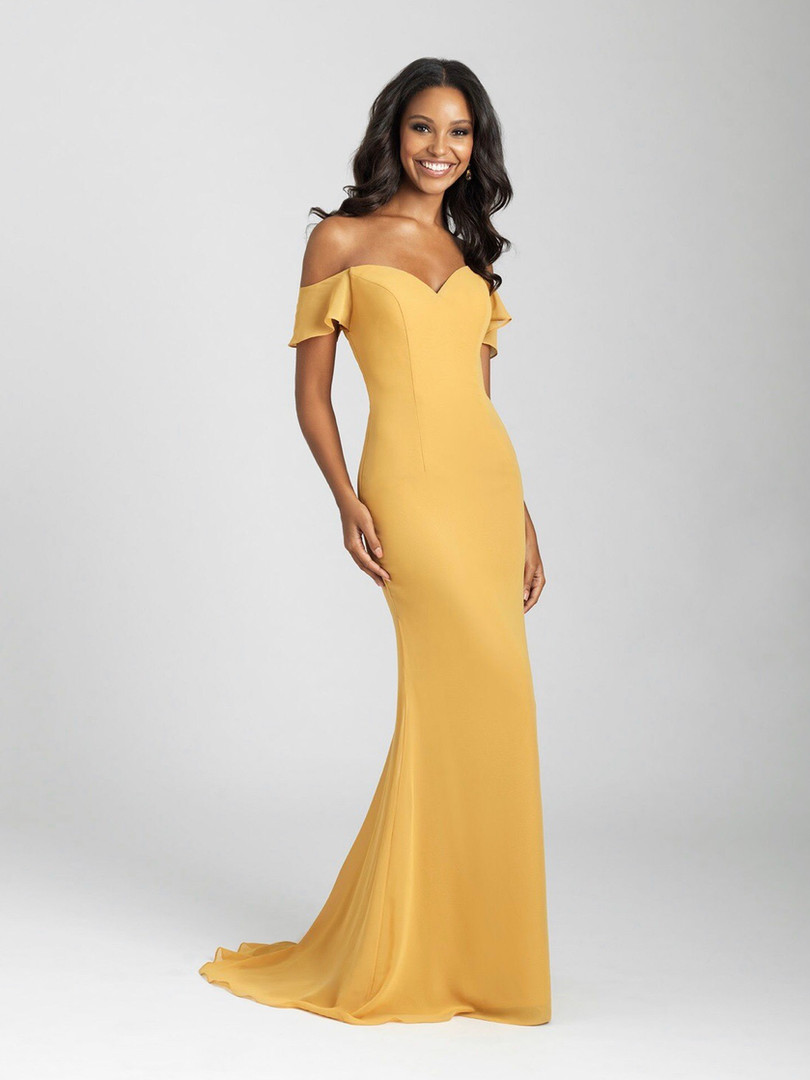 mustard yellow fitted bridesmaid dress