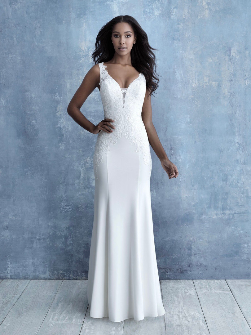 crepe and lace wedding dress with low v
