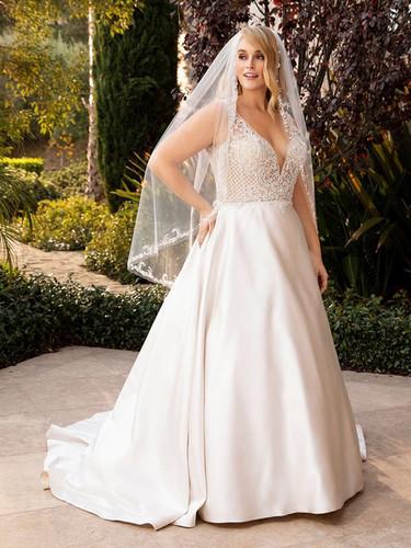 CT Bridal Shop, Bridal Shop CT, satin a-line wedding dress, plus size wedding gown