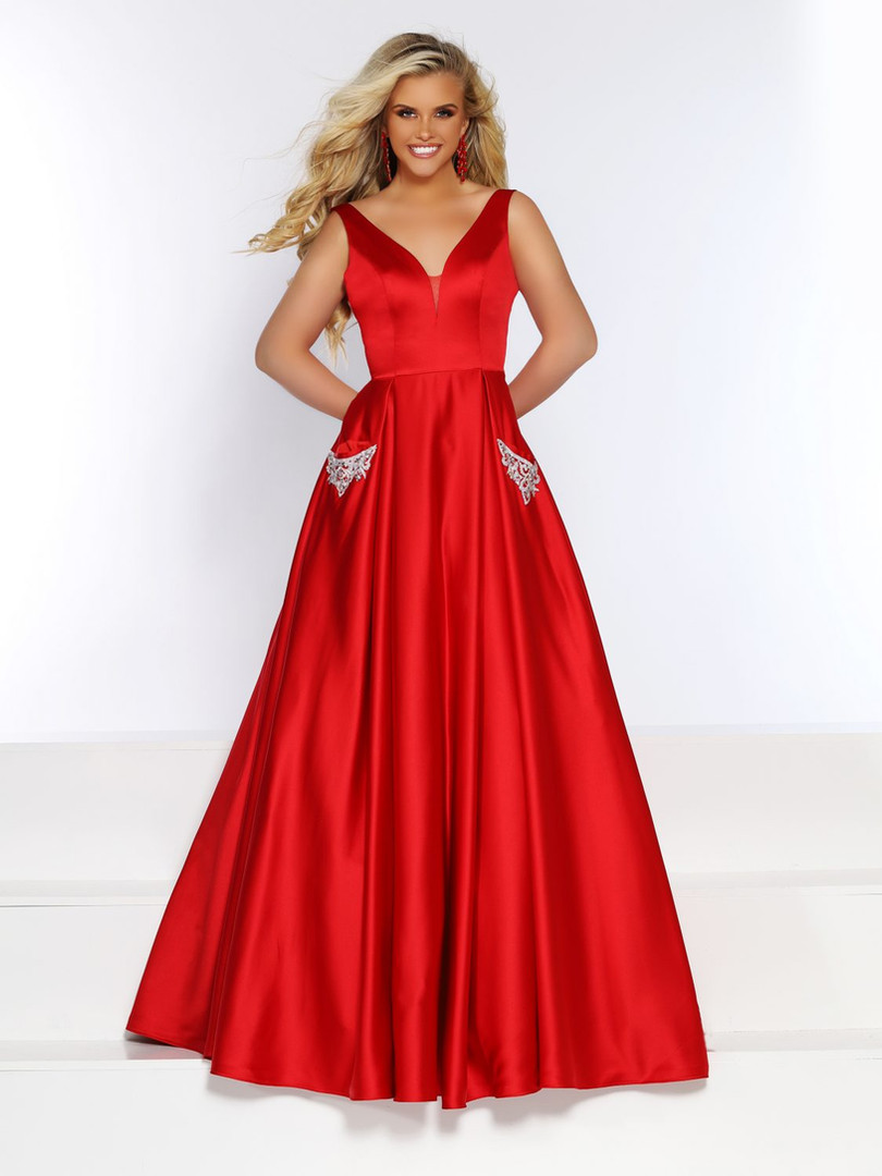red plus size modest prom dress