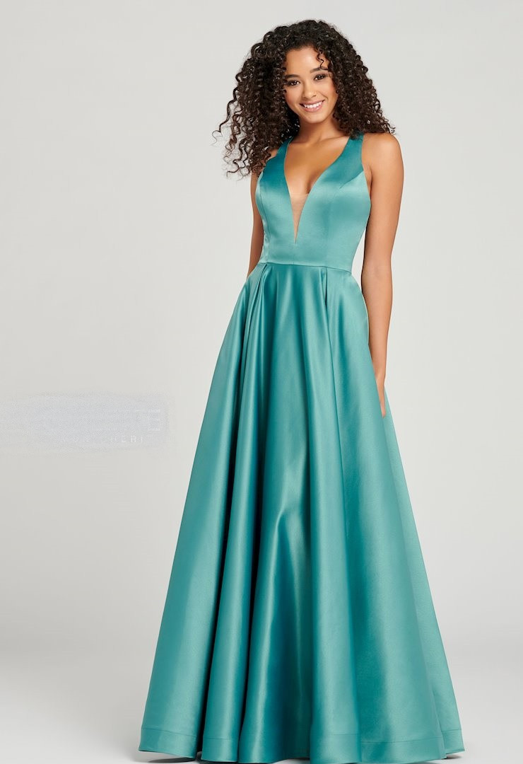 ivy green ball gown modest prom dress