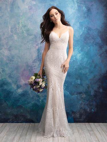 Geometric Lace Sheath Wedding Dress