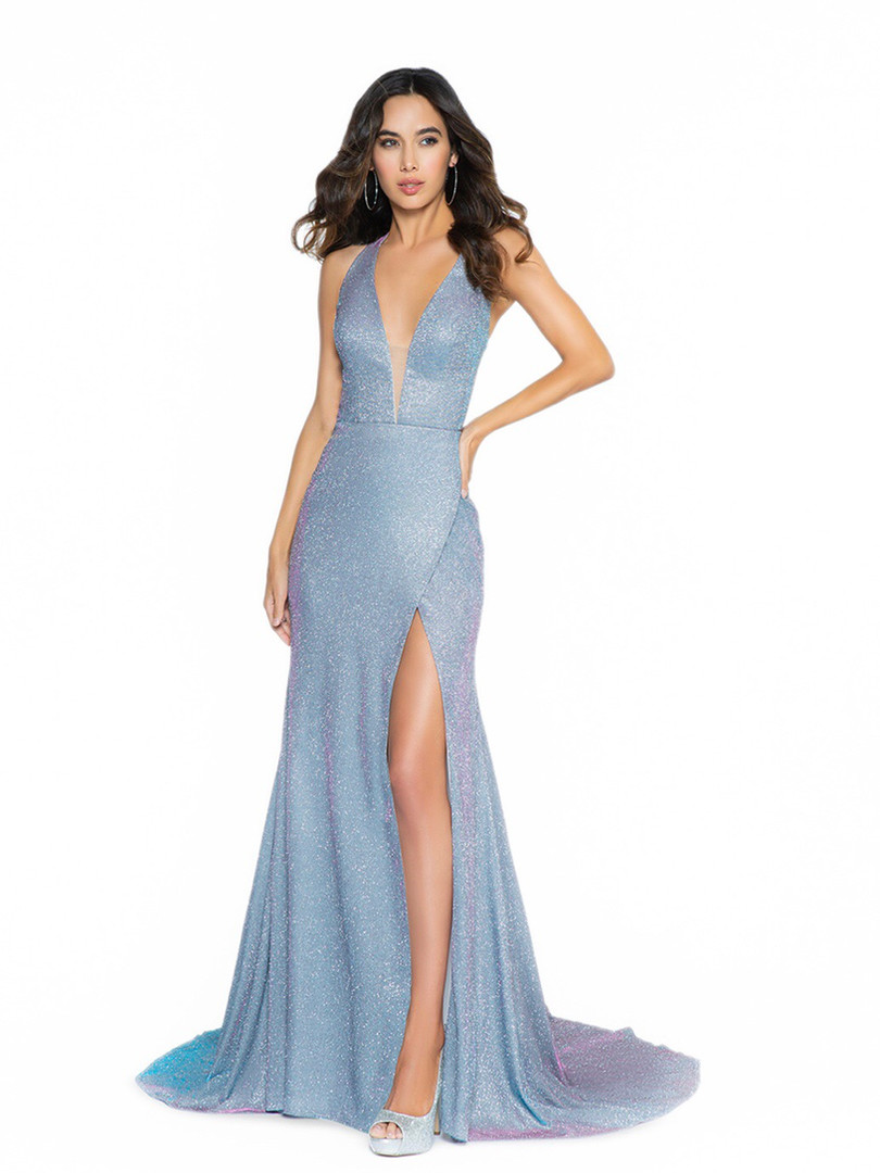 sexy plunging v halter prom dress with a slit