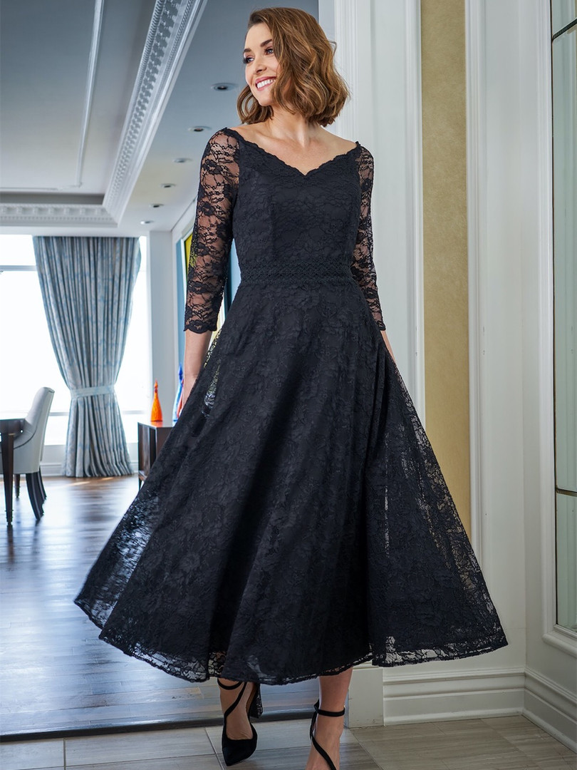 tea length lace mother of the bride dress
