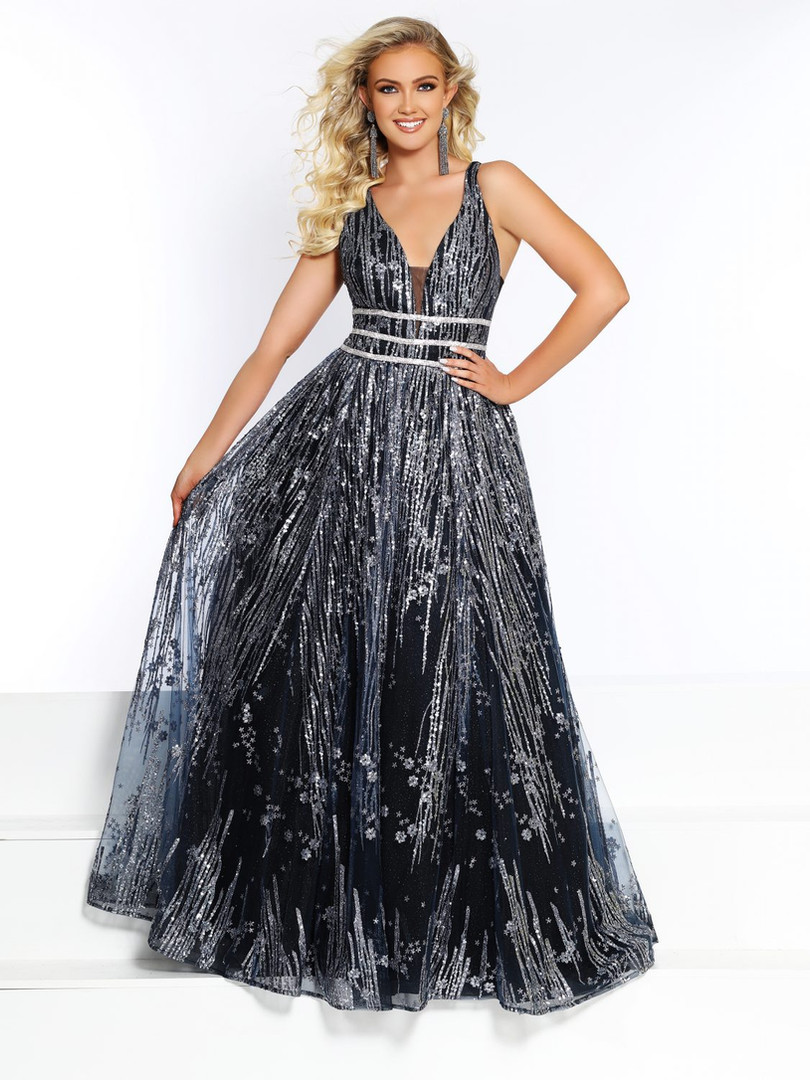 grey and silver ball gown prom dress