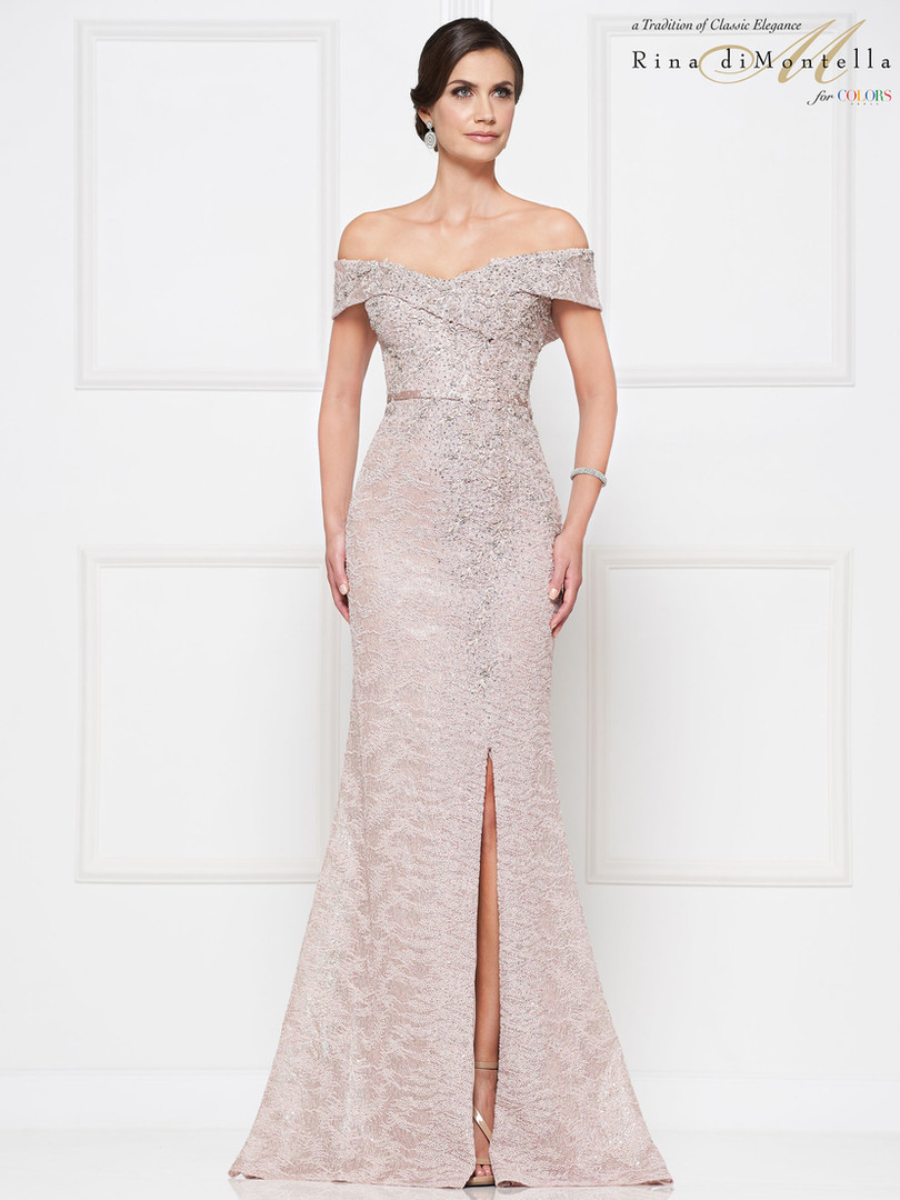 Off the shoulder blush Rina Di Montella Mother of the Bride Dress
