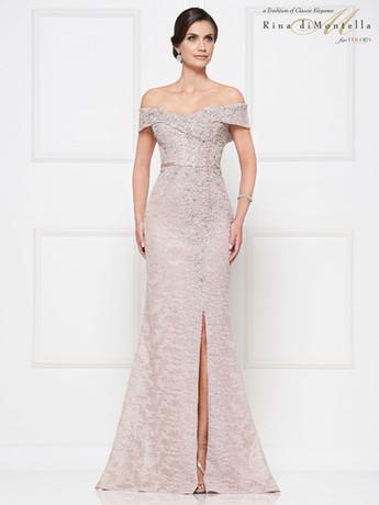 Off the shoulder blush Rina Di Montella Mother of the Bride Dress