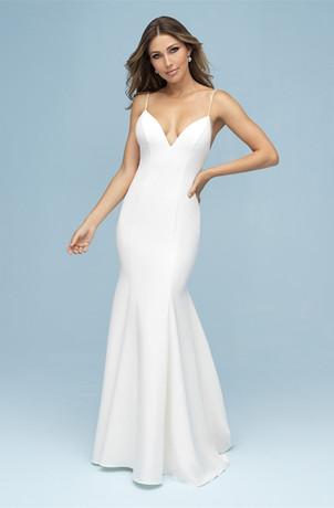 gorgeous plain crepe wedding gown