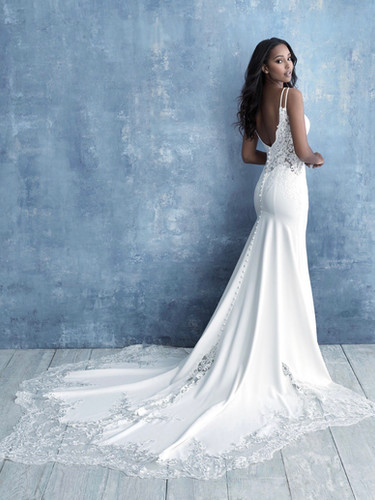 low back lace and crepe wedding gown
