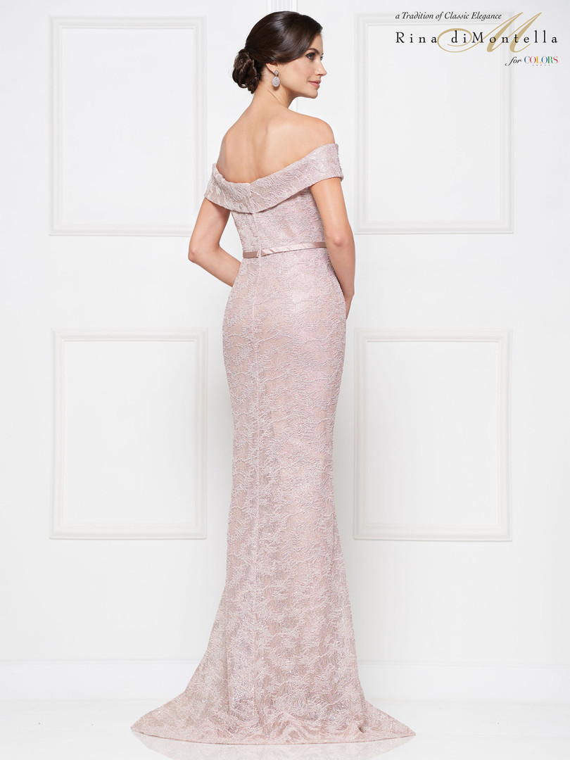 Off the shoulder blush Mother of the Groom Dress Rina Di Montella