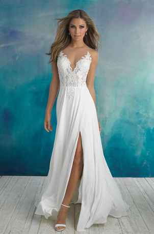 Flowy Romantic Lace Top Wedding Dress