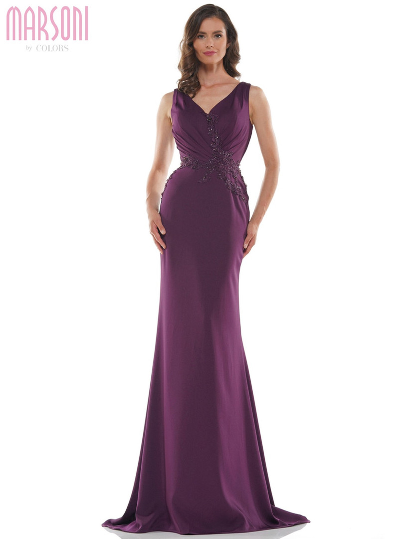 fitted v-neck mother of the bride dress