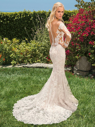 RI Bridal Shop, Bridal Shop RI, amazing train, fit and flare wedding dress, low back wedding dress